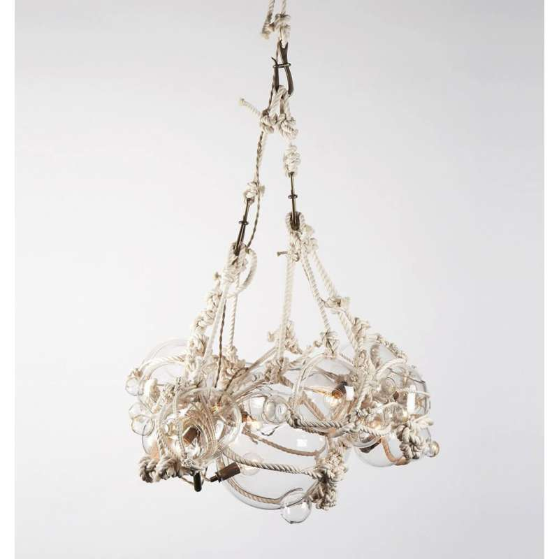 Roll & Hill Knotty Bubbles Chandelier 1 Lg, 6 Sm Bubbles lampa wisząca