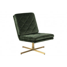 ACTONA fotel obrotowy CARRERA ciemny zielony - welur, złota podstawa Maximus Design