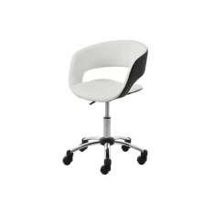 ACTONA fotel obrotowy GRACE biało-czarny - ekoskóra, chrom Maximus Design