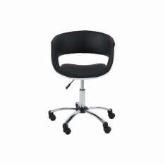 ACTONA fotel obrotowy GRACE czarno-biały - ekoskóra, chrom Maximus Design
