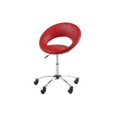 ACTONA fotel obrotowy PLUMP czerwony - ekoskóra, chrom Maximus Design