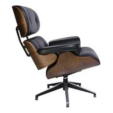 Fotel LOUNGE czarny, sklejka orzech - skóra naturalna Maximus Design