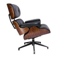 Fotel LOUNGE czarny, sklejka różana - skóra naturalna Maximus Design