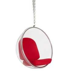 Fotel wiszący BUBBLE poduszka czerwona - korpus akryl, poduszka wełna Maximus Design