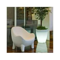 NEW GARDEN fotel ARUBA SOLAR biały - LED Maximus Design