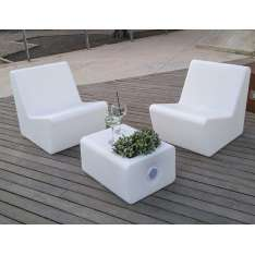 NEW GARDEN fotel TARIDA SIT SOLAR biały - LED, sterowanie pilotem Maximus Design