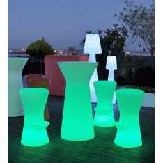 NEW GARDEN stolik barowy CAPRI 110 SOLAR biały - LED, sterowanie pilotem Maximus Design