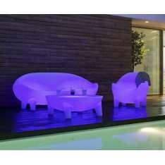 NEW GARDEN stolik MARTINICA SOLAR biały - LED, sterowanie pilotem Maximus Design