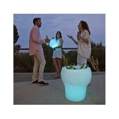 NEW GARDEN stolik MELVIN SOLAR biały - LED, sterowanie pilotem Maximus Design