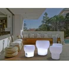 NEW GARDEN stołek CALVIN SOLAR bialy - LED, sterowanie pilotem Maximus Design