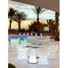 NEW GARDEN stół ITACA SOLAR biały - LED, sterowanie pilotem Maximus Design