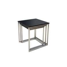 Zestaw stolików TRIO SLIM czarne - podstawa chromowana Maximus Design