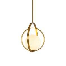 Orbit Double- mleczna kula - nowoczesna lampa wisząca